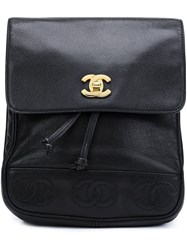 Chanel Vintage Cc Logo Backpack Black