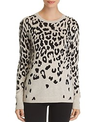 Bloomingdale's C By Cascade Leopard Cashmere Sweater 100 Exclusive Light Gray