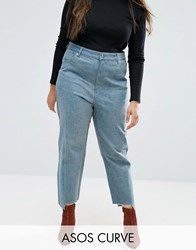 Asos Curve Straight Leg Jeans In Tonal Deconstructed Blue