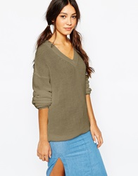 Daisy Street V Neck Fisherman Knit Jumper Khaki