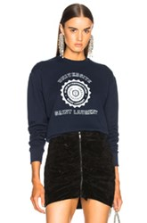 Saint Laurent Crewneck University Sweatshirt In Blue