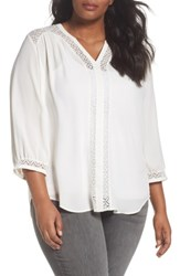 Sejour Plus Size Women's Lace Inset Split Neck Blouse Ivory Cloud