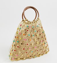 South Beach Exclusive Natural Beaded Bag With Wooden Handle And Bright Beads Beige