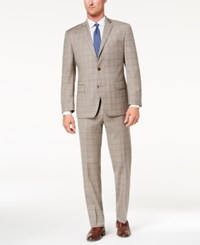 Michael Kors Men's Classic Fit Tan Blue Plaid Suit Tan Blue