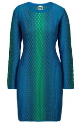 M Missoni Crochet Knit Mini Dress Cobalt Blue