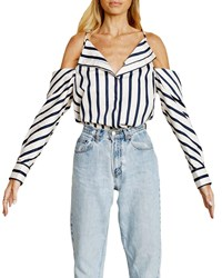 Stylekeepers Can't Be Tamed Button Front Top Blue White