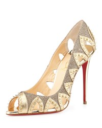 Christian Louboutin Pinder City Spiked Red Sole Pump Gold Women's