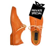 Pakerson Orange Italian Hand Made Calf Leather Lace Up Shoes