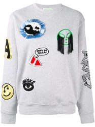 Aries Patch Embroidered Sweatshirt Grey