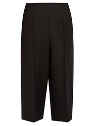 Valentino Cropped Wool And Silk Blend Trousers Black