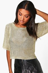 Boohoo Short Sleeve Metallic Knit Top Gold