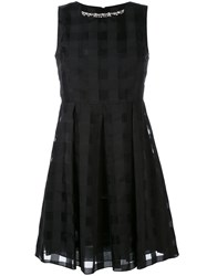 Blugirl Jacquard Check Dress Women Cotton Polyester 46 Black