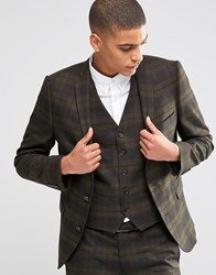 Selected Homme Suit Jacket With Check In Skinny Fit With Stretch Khaki Green