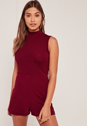 Missguided Burgundy High Neck Sleeveless Ribbed Playsuit