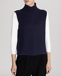 Karen Millen Sweater Color Block Turtleneck Blue Multi