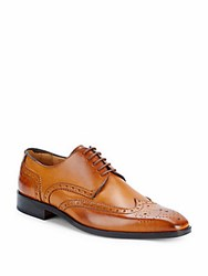 Saks Fifth Avenue Brogued Wingtip Derby Shoes Caramel