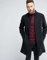 Asos Textured Raw Edge Overcoat In Grey Grey