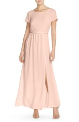Women's Paper Crown By Lauren Conrad 'Shreveport' Side Slit A Line Crepe Gown Silver Peony