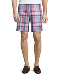 Peter Millar Yarn Dyed Cotton Plaid Shorts Light Blue