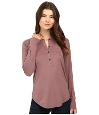 Alternative Apparel Organic Pima Henley Vintage Rose Women's Clothing Pink