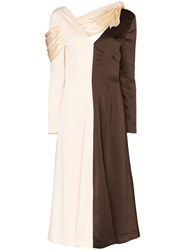Rejina Pyo Colourblocked Split Midi Dress Brown