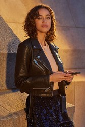 Urban Outfitters Uo Pebbled Leather Moto Jacket Black