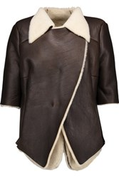 Marni Asymmetric Shearling Jacket Dark Brown