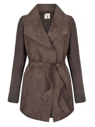Yumi Suedette Wrap Front Coat Grey