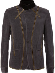 Haider Ackermann Velvet Trim Military Jacket Grey