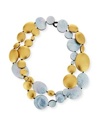 Viktoria Hayman Double Strand Two Tone Disc Necklace Yellow Silver