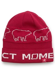 Perfect Moment Bear Merino Wool Blend Beanie Red And White