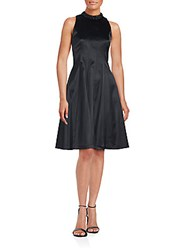 Kay Unger Solid Fit And Flare Dress Black