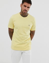 Original Penguin Embroidered Logo Crew Neck Slim Fit T Shirt In Pineapple Yellow