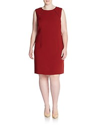 Lafayette 148 New York Plus Size Bella Satin Trimmed Crepe Sheath Dress Auburn