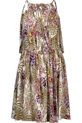 Just Cavalli Draped Wrap Effect Printed Stretch Jersey Mini Dress Multi