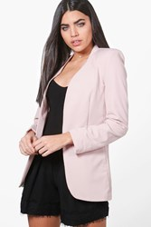 Boohoo Edge To Edge Woven Tailored Blazer Blush