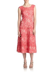 Kay Unger Lace Tea Length Dress Coral