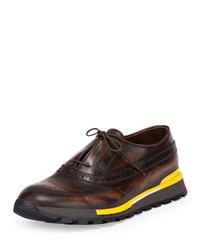 Berluti Fast Track Leather Brogue Sneaker Brown Yellow