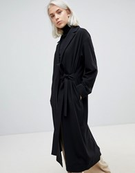 Weekday Belted Trench Coat In Black