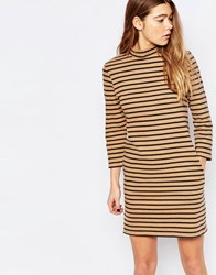 Wood Wood Mary Stripe Dress In Tannin Tannin Stripe Brown