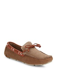 Saks Fifth Avenue Woven Paneled Suede Drivers Taupe Chocolate