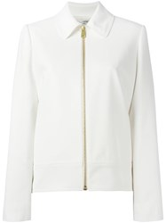 Lanvin Zipped Pointed Collar Jacket White