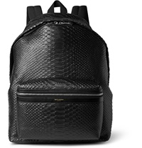 Saint Laurent Snake Effect Leather Backpack Black