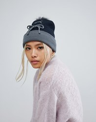 7X Lace Up Front Beanie Hat Navy Grey