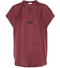 Brunello Cucinelli Silk Keyhole Top Red