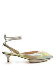 Delpozo Point Toe Sequin Embellished Slingback Pumps Yellow Multi