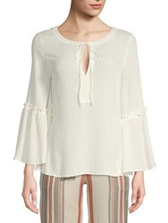 Ellen Tracy Ruffled Bell Sleeve Blouse Cream