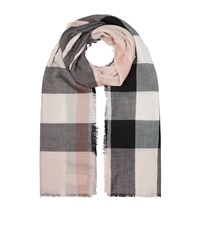 Burberry Shoes And Accessories Lightweight Check Wool And Silk Scarf Female Rose