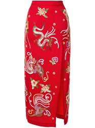 Attico Embellished Fitted Skirt Red