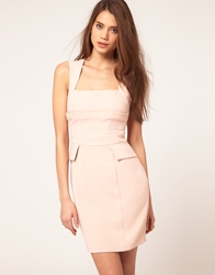 Lipsy Fitted Dress With Cut Out Detail Coral